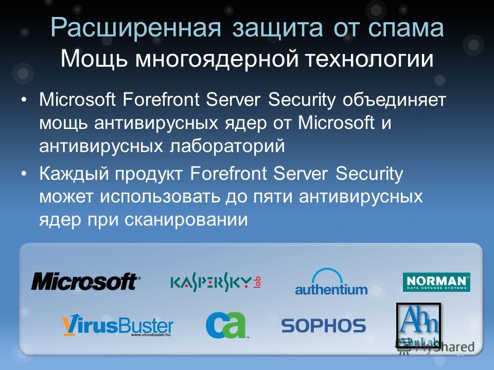 Microsoft Forefront Server Security объединяет мощь антивирусных ядер от Microsoft и антивирусных лабораторий Каждый продукт Forefront Server Security может использовать до пяти антивирусных ядер при сканировании Расширенная защита от спама Мощь мног