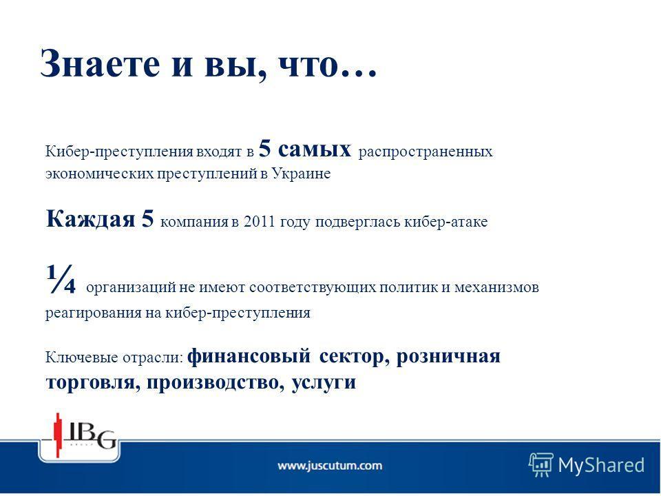 Знаете и вы, что… Кибер-преступления входят в 5 самых распространенных экономических преступлений в Украине Каждая 5 компания в 2011 году подверглась кибер-атаке ¼ организаций не имеют соответствующих политик и механизмов реагирования на кибер-престу