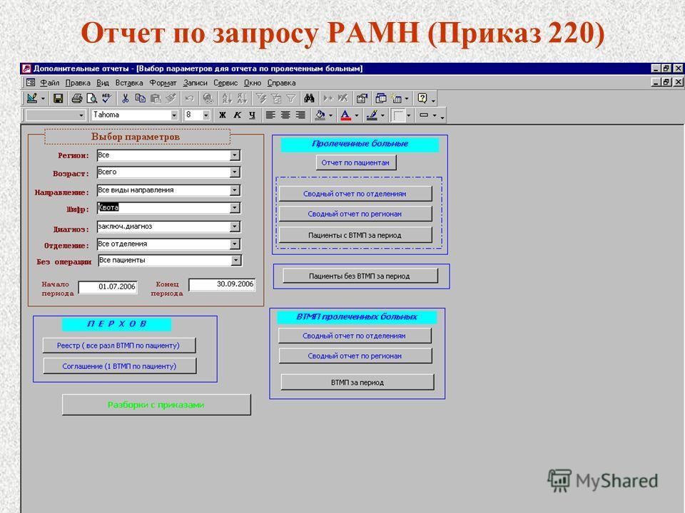 Отчет по запросу РАМН (Приказ 220)