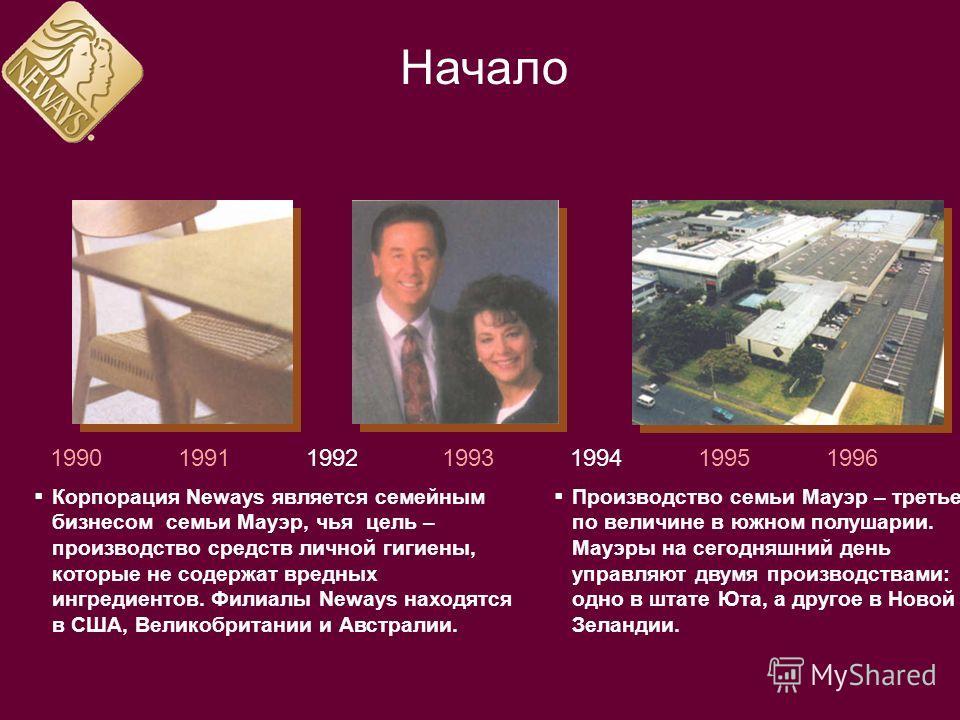 1990199119921993199419951996 Корпорация Neways является семейным бизнесом семьи Мауэр, чья цель – производство средств личной гигиены, которые не содержат вредных ингредиентов. Филиалы Neways находятся в США, Великобритании и Австралии. Производство