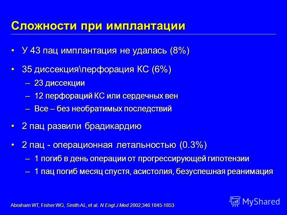 Сложности при имплантации У 43 пац имплантация не удалась (8%)У 43 пац имплантация не удалась (8%) 35 диссекция\перфорация КС (6%)35 диссекция\перфорация КС (6%) –23 диссекции –12 перфораций КС или сердечных вен –Все – без необратимых последствий 2 п