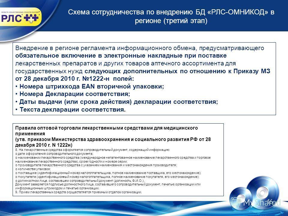 16 Схема сотрудничества по внедрению БД «РЛС-ОМНИКОД» в регионе (третий этап) Внедрение в регионе регламента информационного обмена, предусматривающего обязательное включение в электронные накладные при поставке лекарственных препаратов и других това
