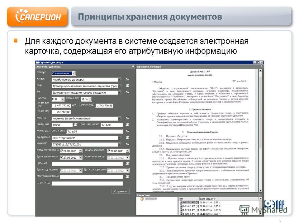 Принципы хранения документов Для каждого документа в системе создается электронная карточка, содержащая его атрибутивную информацию 5