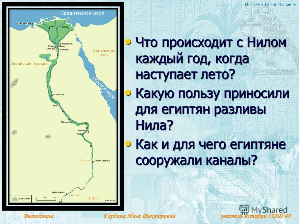 Что происходит с Нилом каждый год, когда наступает лето? Что происходит с Нилом каждый год, когда наступает лето? Какую пользу приносили для египтян разливы Нила? Какую пользу приносили для египтян разливы Нила? Как и для чего египтяне сооружали кана