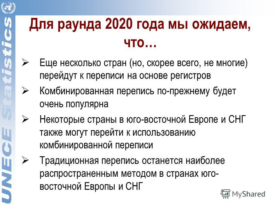 Для раунда 2020 года мы ожидаем, что… Еще несколько стран (но, скорее всего, не многие) перейдут к переписи на основе регистров Комбинированная перепись по-прежнему будет очень популярна Некоторые страны в юго-восточной Европе и СНГ также могут перей