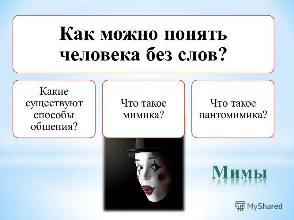 Как можно понять человека без слов? Какие существуют способы общения? Что такое мимика? Что такое пантомимика?