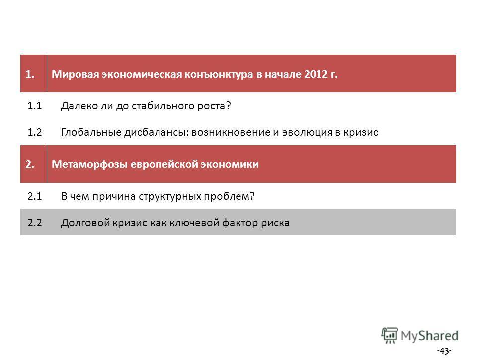 1.Мировая экономическая конъюнктура в начале 2012 г. 1.1Далеко ли до стабильного роста? 1.2Глобальные дисбалансы: возникновение и эволюция в кризис 2.Метаморфозы европейской экономики 2.1В чем причина структурных проблем? 2.2Долговой кризис как ключе