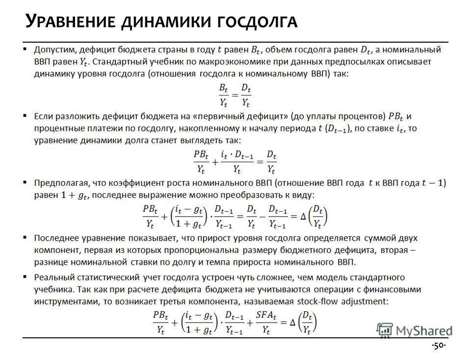 -50- У РАВНЕНИЕ ДИНАМИКИ ГОСДОЛГА