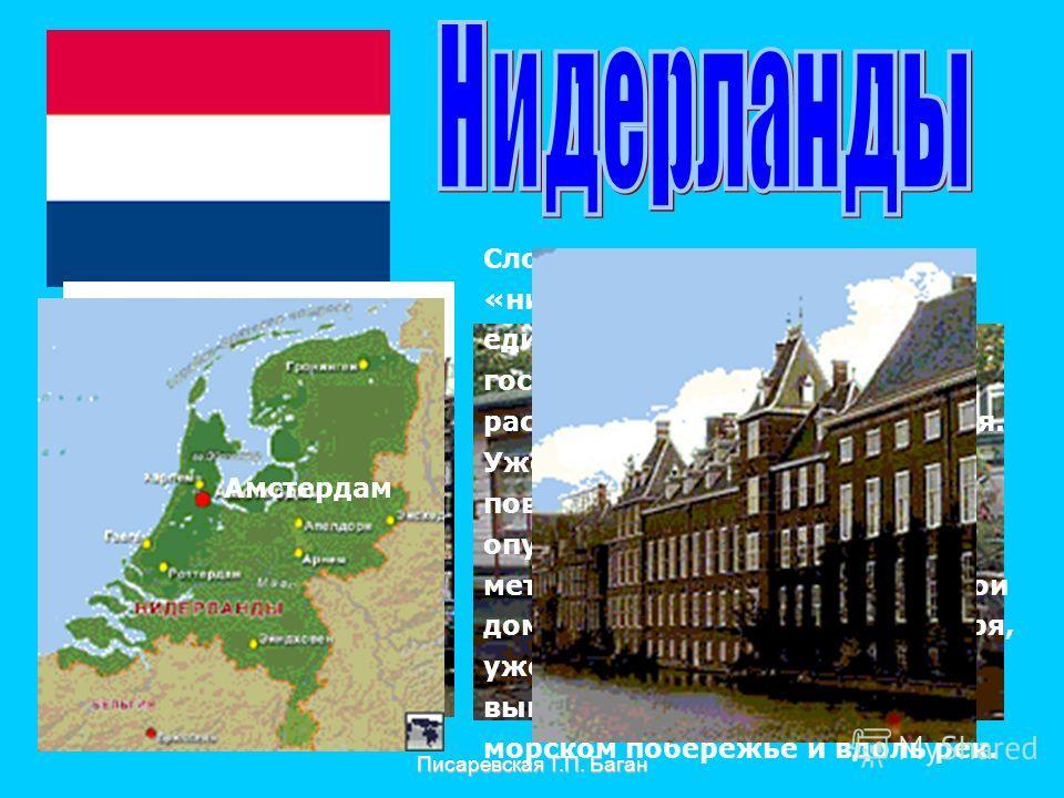 Писаревская Т.П. Баган Амстердам Слово «Нидерланды» означает «низкие земли». Нидерланды единственное в Европе государство, земли которого расположены ниже уровня моря. Уже много веков земная поверхность постепенно опускается со скоростью один метр в