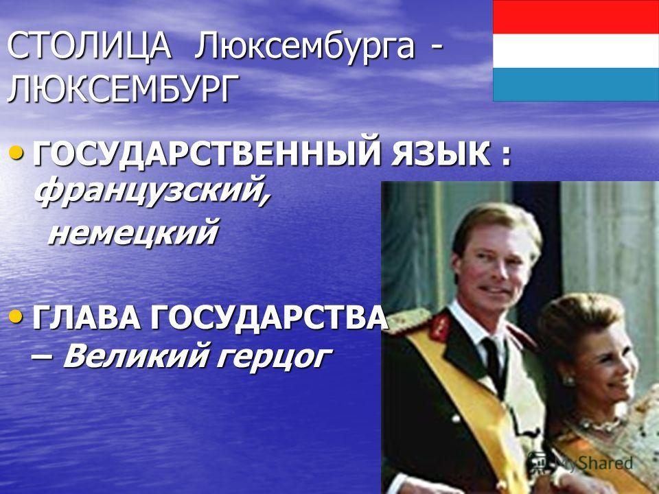 СТОЛИЦА Люксембурга - ЛЮКСЕМБУРГ ГОСУДАРСТВЕННЫЙ ЯЗЫК : французский, ГОСУДАРСТВЕННЫЙ ЯЗЫК : французский, немецкий немецкий ГЛАВА ГОСУДАРСТВА – Великий герцог ГЛАВА ГОСУДАРСТВА – Великий герцог