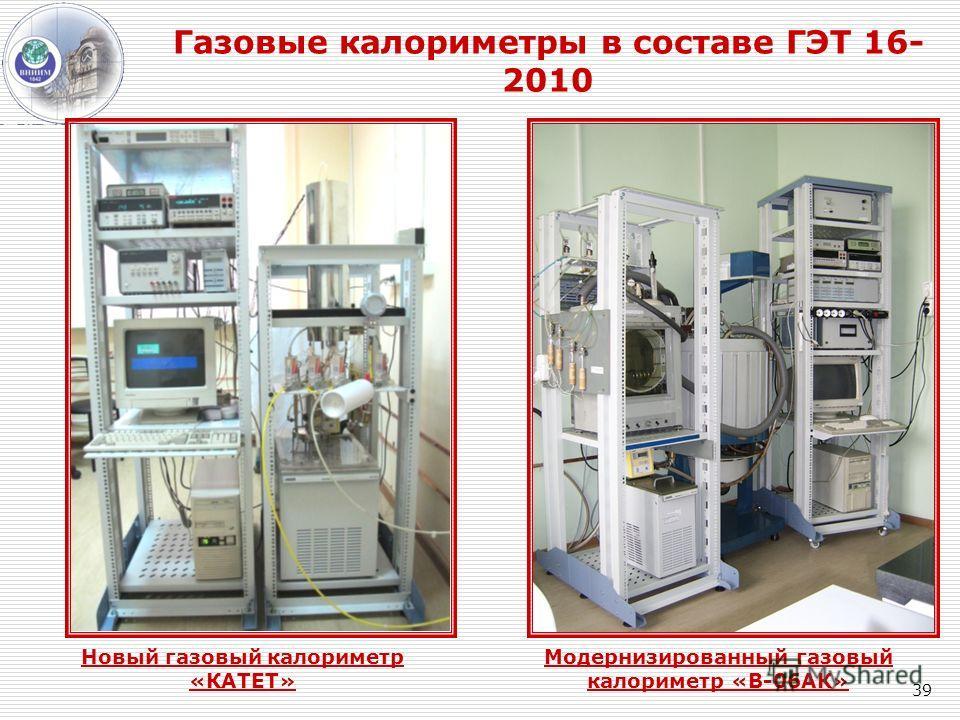 39 Газовые калориметры в составе ГЭТ 16- 2010 Новый газовый калориметр «КАТЕТ» Модернизированный газовый калориметр «В-06АК»