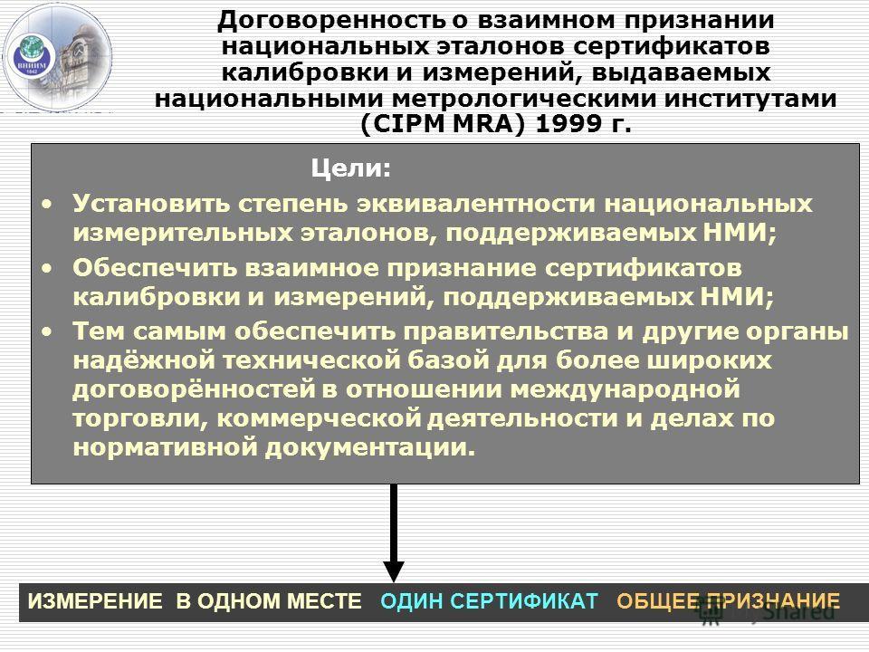 Договоренность о взаимном признании национальных эталонов сертификатов калибровки и измерений, выдаваемых национальными метрологическими институтами (CIPM MRA) 1999 г. Цели: Установить степень эквивалентности национальных измерительных эталонов, подд