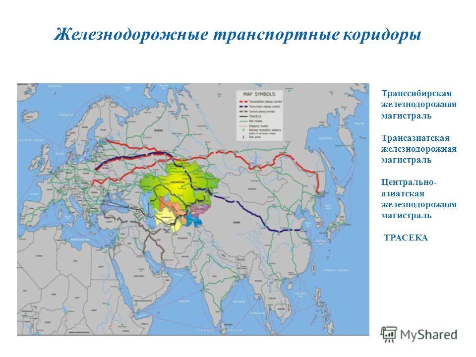 Железнодорожные транспортные коридоры Транссибирская железнодорожная магистраль Трансазиатская железнодорожная магистраль Центрально- азиатская железнодорожная магистраль ТРАСЕКА