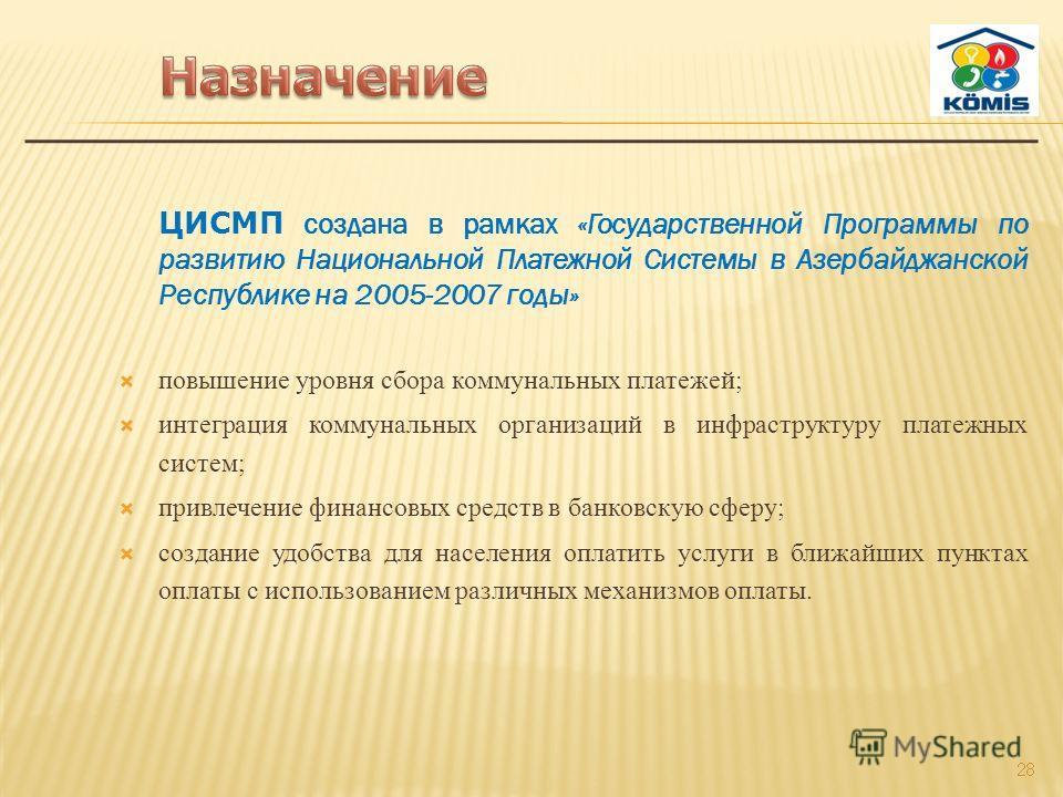 ЦИСМП создана в рамках «Государственной Программы по развитию Национальной Платежной Системы в Азербайджанской Республике на 2005-2007 годы» повышение уровня сбора коммунальных платежей; интеграция коммунальных организаций в инфраструктуру платежных
