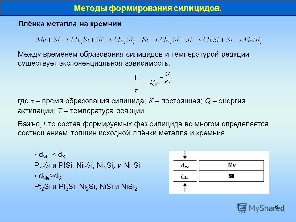 6 Между временем образования силицидов и температурой реакции существует экспоненциальная зависимость: Плёнка металла на кремнии Важно, что состав формируемых фаз силицида во многом определяется соотношением толщин исходной плёнки металла и кремния.