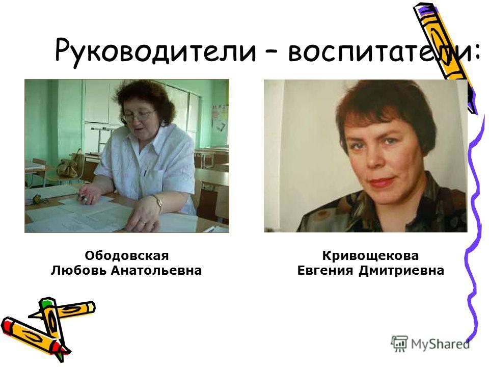 Руководители – воспитатели: Ободовская Любовь Анатольевна Кривощекова Евгения Дмитриевна