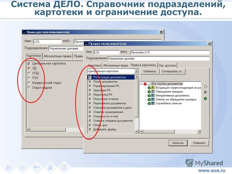 Система ДЕЛО. Справочник подразделений, картотеки и ограничение доступа.