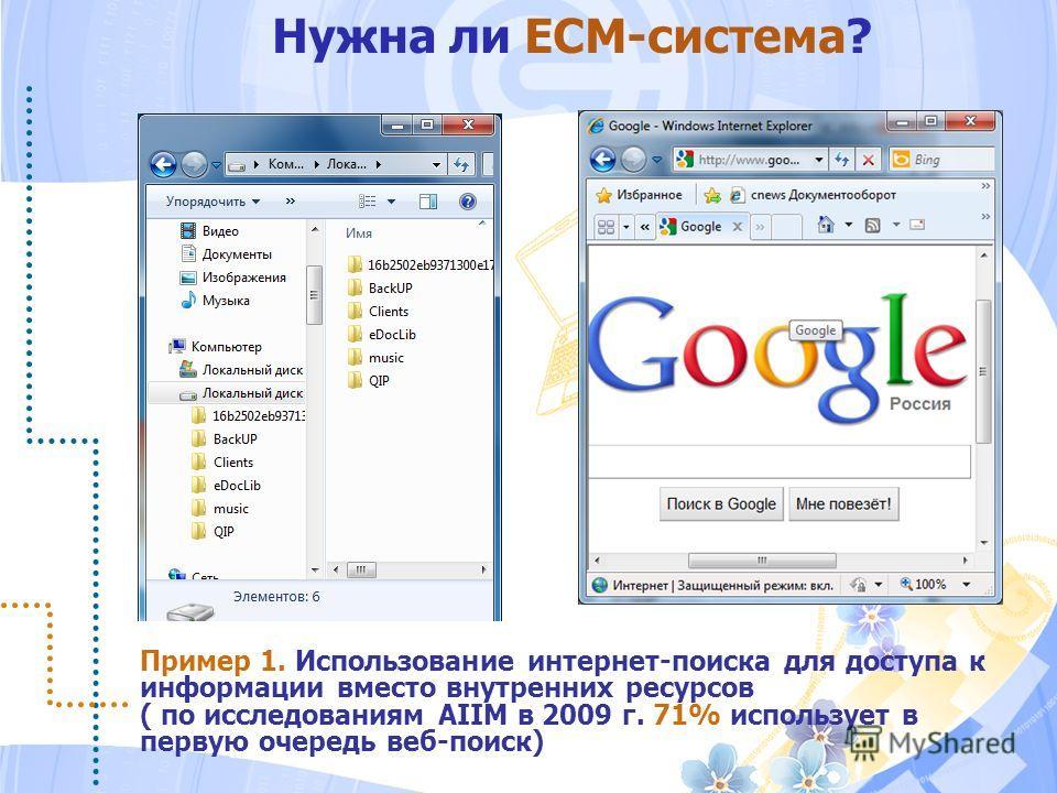 Нужна ли ECM-система? Пример 1. Использование интернет-поиска для доступа к информации вместо внутренних ресурсов ( по исследованиям AIIM в 2009 г. 71% использует в первую очередь веб-поиск)