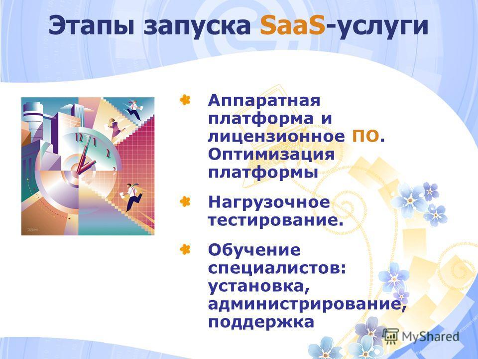 Этапы запуска SaaS-услуги Аппаратная платформа и лицензионное ПО. Оптимизация платформы Нагрузочное тестирование. Обучение специалистов: установка, администрирование, поддержка
