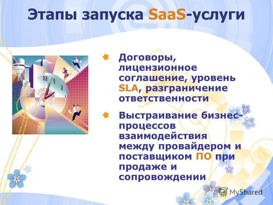 Этапы запуска SaaS-услуги Договоры, лицензионное соглашение, уровень SLA, разграничение ответственности Выстраивание бизнес- процессов взаимодействия между провайдером и поставщиком ПО при продаже и сопровождении