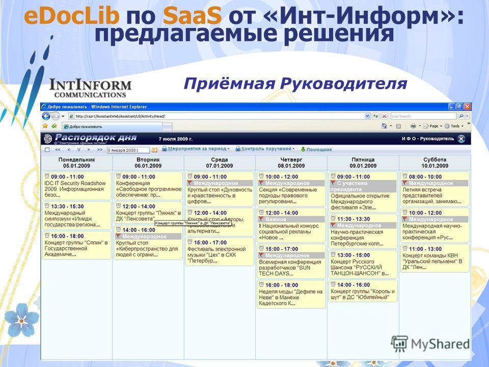 eDocLib по SaaS от «Инт-Информ»: предлагаемые решения Приёмная Руководителя