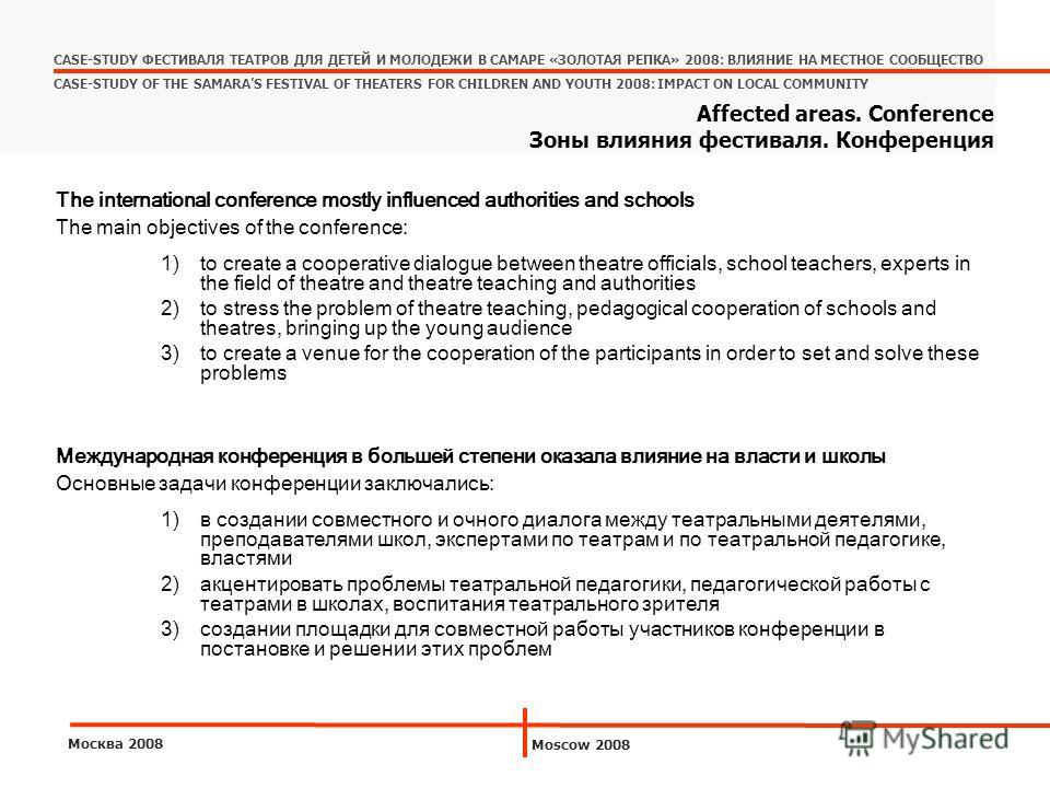 The international conference mostly influenced authorities and schools The main objectives of the conference: 1)to create a cooperative dialogue between theatre officials, school teachers, experts in the field of theatre and theatre teaching and auth