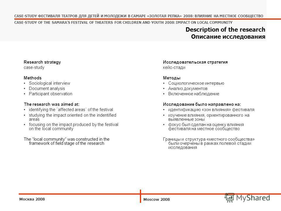 Исследовательская стратегия кейс-стади Методы Социологическое интервью Анализ документов Включенное наблюдение Исследование было направлено на: идентификацию «зон влияния» фестиваля изучение влияния, ориентированного на выявленные зоны фокус был сдел