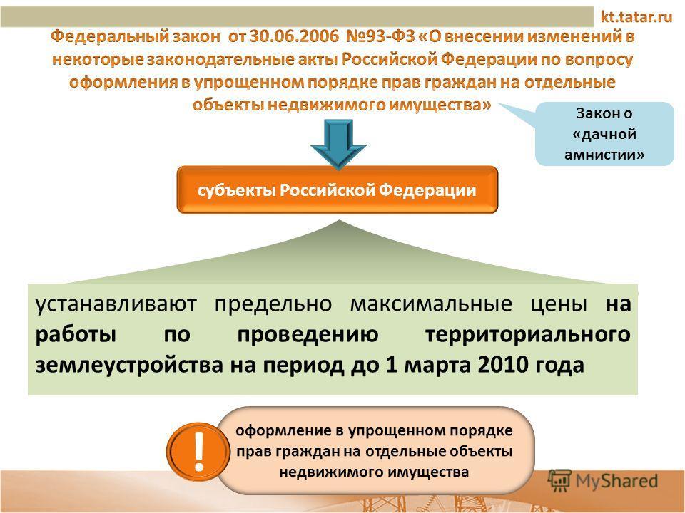 устанавливают предельно максимальные цены на работы по проведению территориального землеустройства на период до 1 марта 2010 года Закон о «дачной амнистии» субъекты Российской Федерации !