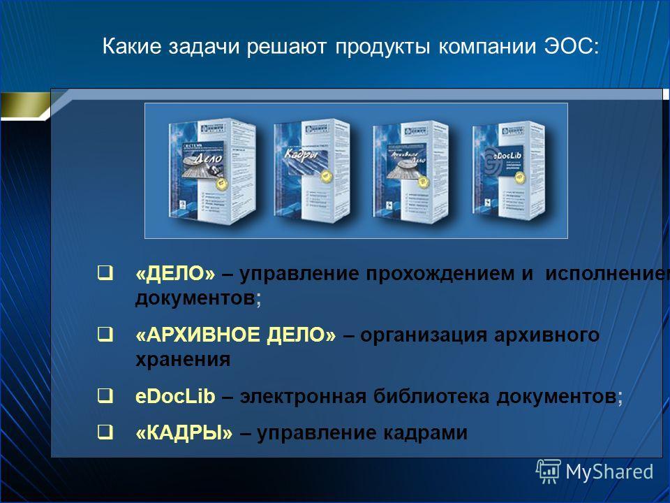 Какие задачи решают продукты компании ЭОС: «ДЕЛО» – управление прохождением и исполнением документов; «АРХИВНОЕ ДЕЛО» – организация архивного хранения eDocLib – электронная библиотека документов; «КАДРЫ» – управление кадрами