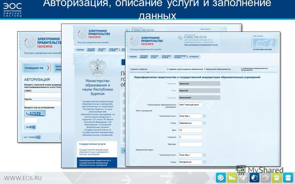 WWW.EOS.RU Авторизация, описание услуги и заполнение данных