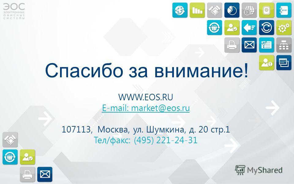 Спасибо за внимание! WWW.EOS.RU E-mail: market@eos.ru 107113, Москва, ул. Шумкина, д. 20 стр.1 Тел/факс: (495) 221-24-31