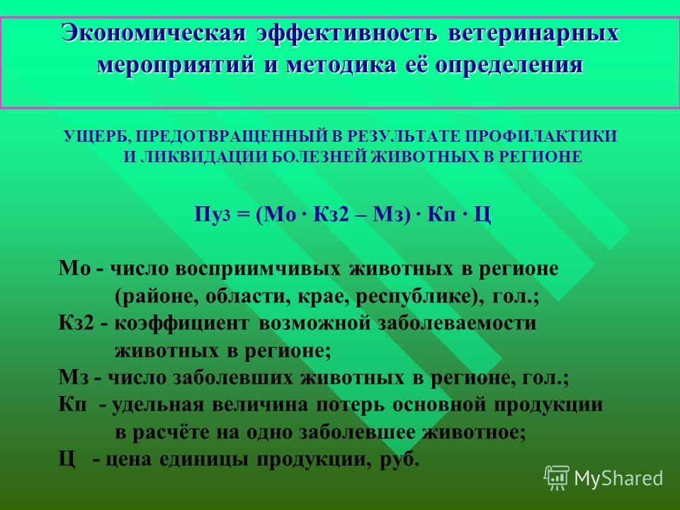 Экономическая эффективность ветеринарных мероприятий и методика её определения УЩЕРБ, ПРЕДОТВРАЩЕННЫЙ В РЕЗУЛЬТАТЕ ПРОФИЛАКТИКИ И ЛИКВИДАЦИИ БОЛЕЗНЕЙ ЖИВОТНЫХ В РЕГИОНЕ Пу 3 = (Мо · Кз2 – Мз) · Кп · Ц Мо - число восприимчивых животных в регионе (райо