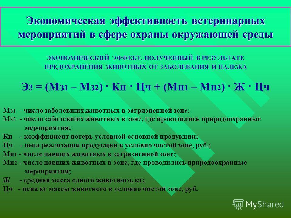 Экономическая эффективность ветеринарных мероприятий в сфере охраны окружающей среды ЭКОНОМИЧЕСКИЙ ЭФФЕКТ, ПОЛУЧЕННЫЙ В РЕЗУЛЬТАТЕ ПРЕДОХРАНЕНИЯ ЖИВОТНЫХ ОТ ЗАБОЛЕВАНИЯ И ПАДЕЖА Э 3 = (Мз 1 – Мз 2 ) · Кп · Цч + (Мп 1 – Мп 2 ) · Ж · Цч Мз 1 - число за
