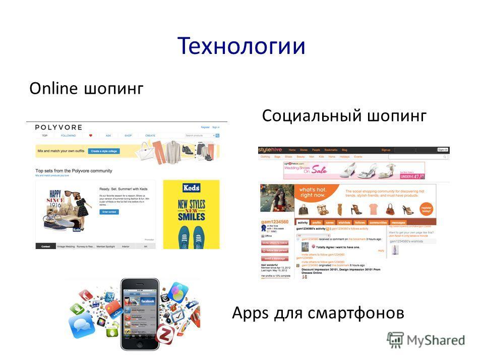 Технологии Online шопинг Apps для смартфонов Социальный шопинг