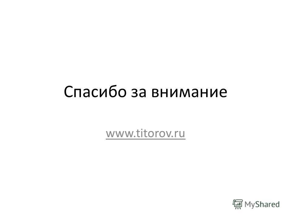 Спасибо за внимание www.titorov.ru