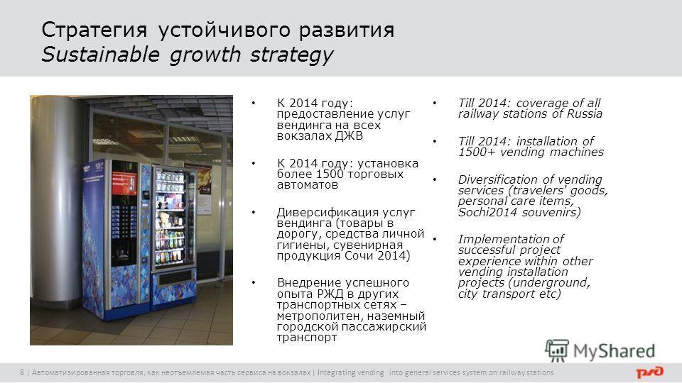 Стратегия устойчивого развития Sustainable growth strategy К 2014 году: предоставление услуг вендинга на всех вокзалах ДЖВ К 2014 году: установка более 1500 торговых автоматов Диверсификация услуг вендинга (товары в дорогу, средства личной гигиены, с