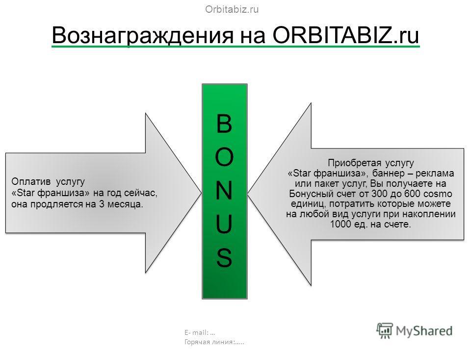 Вознаграждения на ORBITABIZ.ru Оплатив услугу «Star франшиза» на год сейчас, она продляется на 3 месяца. Приобретая услугу «Star франшиза», баннер – реклама или пакет услуг, Вы получаете на Бонусный счет от 300 до 600 cosmo единиц, потратить которые