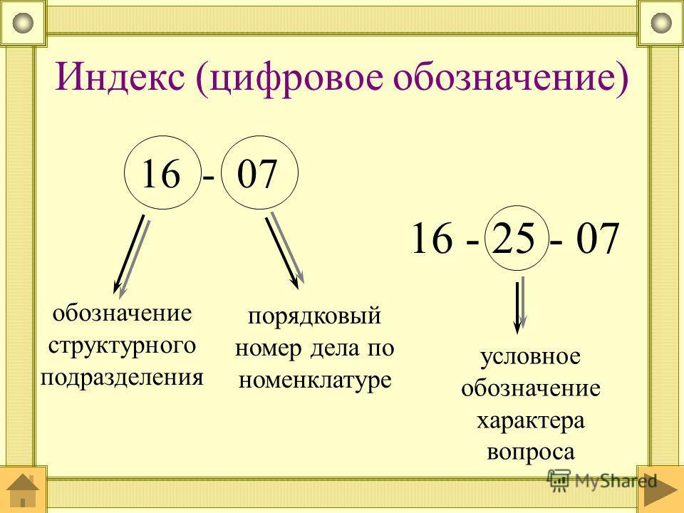 Индекс (цифровое обозначение) 16 - 07 обозначение структурного подразделения порядковый номер дела по номенклатуре 16 - 25 - 07 условное обозначение характера вопроса