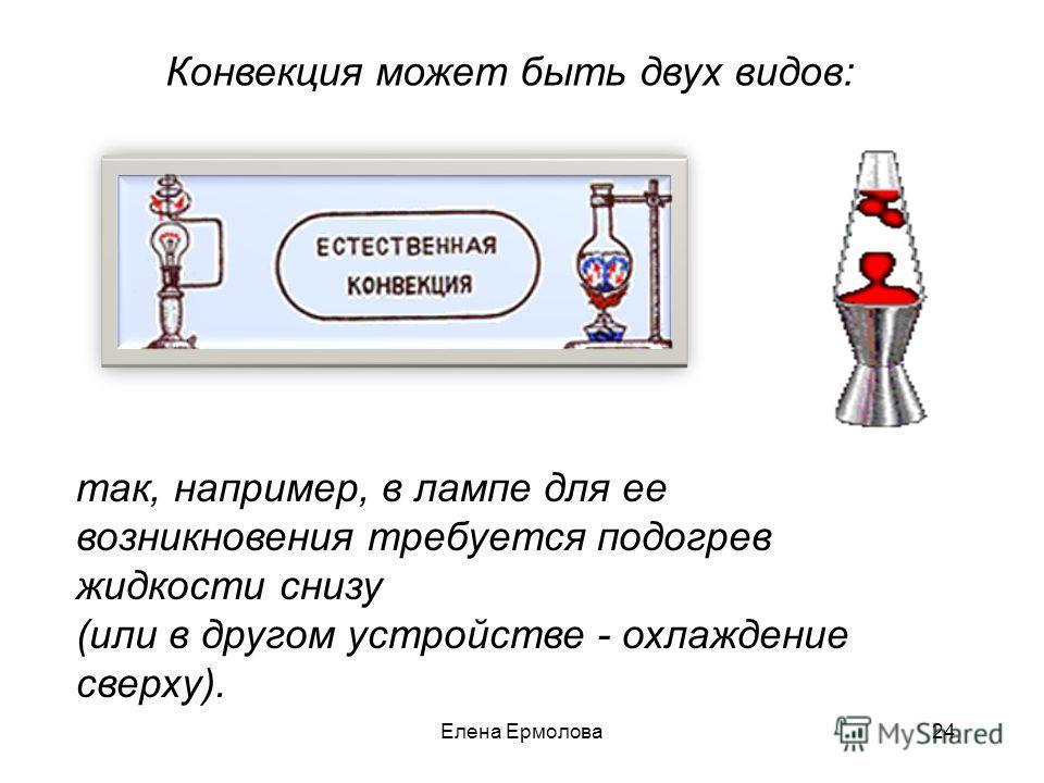 Конвекция может быть двух видов: так, например, в лампе для ее возникновения требуется подогрев жидкости снизу (или в другом устройстве - охлаждение сверху). 24Елена Ермолова