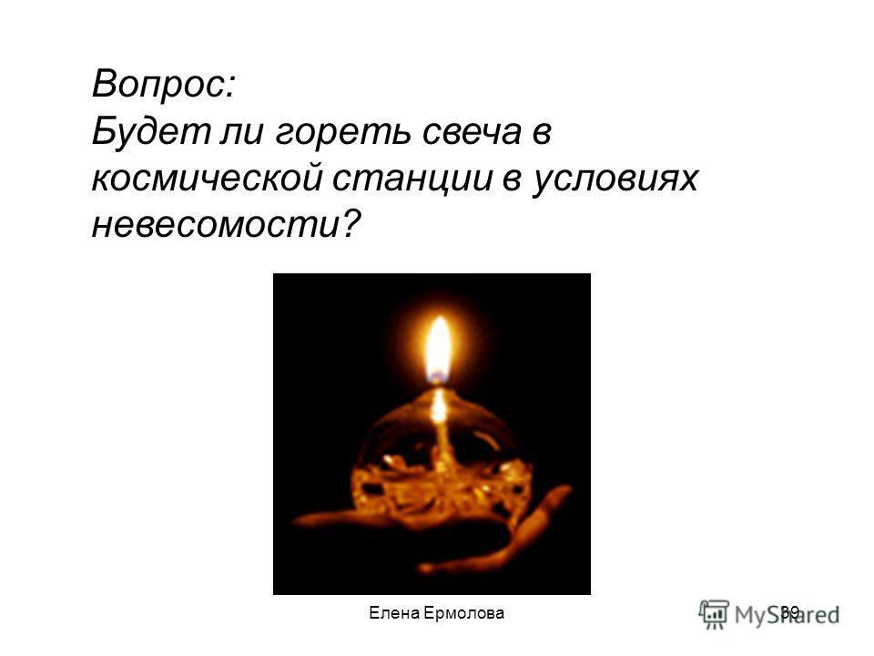 Вопрос: Будет ли гореть свеча в космической станции в условиях невесомости? 39Елена Ермолова