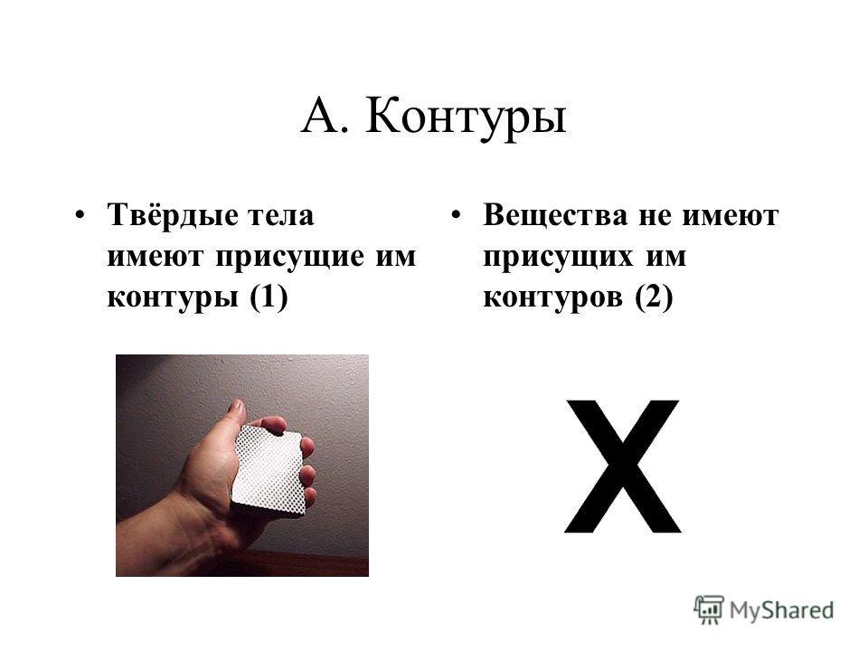 A. Контуры Твёрдые тела имеют присущие им контуры (1) Вещества не имеют присущих им контуров (2)