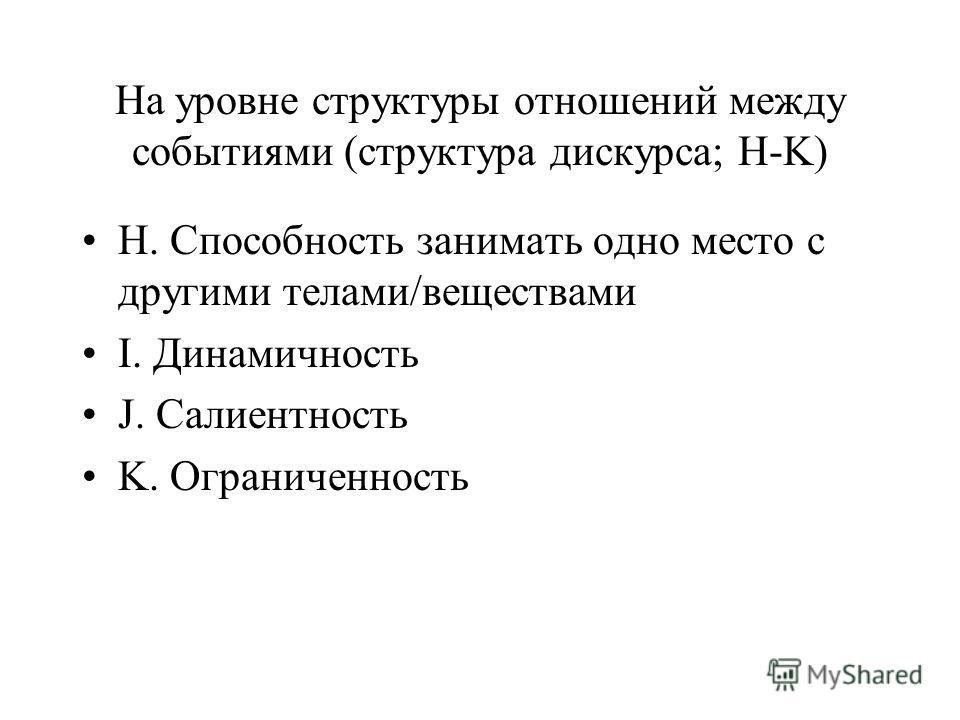 На уровне структуры отношений между событиями (структура дискурса; H-K) H. Способность занимать одно место с другими телами/веществами I. Динамичность J. Салиентность K. Ограниченность
