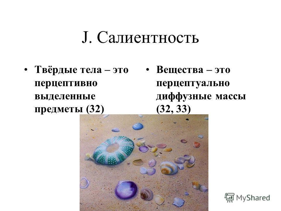 J. Салиентность Твёрдые тела – это перцептивно выделенные предметы (32) Вещества – это перцептуально диффузные массы (32, 33)