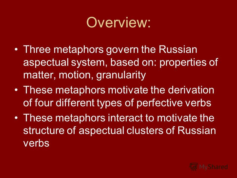 Overview: Three metaphors govern the Russian aspectual system, based on: properties of matter, motion, granularity These metaphors motivate the derivation of four different types of perfective verbs These metaphors interact to motivate the structure