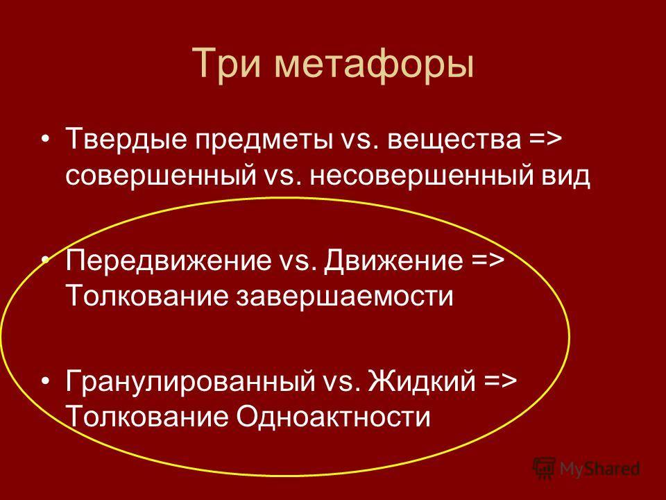 Три метафоры Твердые предметы vs. вещества => совершенный vs. несовершенный вид Передвижение vs. Движение => Толкование завершаемости Гранулированный vs. Жидкий => Толкование Одноактности