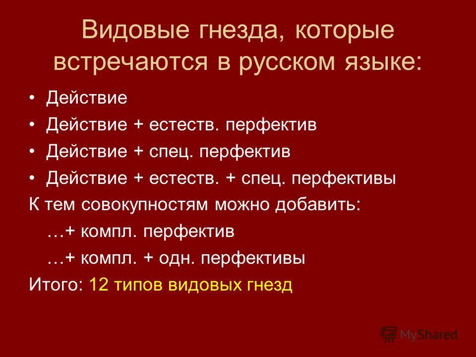 Видовые гнезда, которые встречаются в русском языке: Действие Действие + естеств. перфектив Действие + спец. перфектив Действие + естеств. + спец. перфективы К тем совокупностям можно добавить: …+ компл. перфектив …+ компл. + одн. перфективы Итого: 1