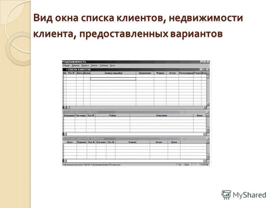 Вид окна списка клиентов, недвижимости клиента, предоставленных вариантов