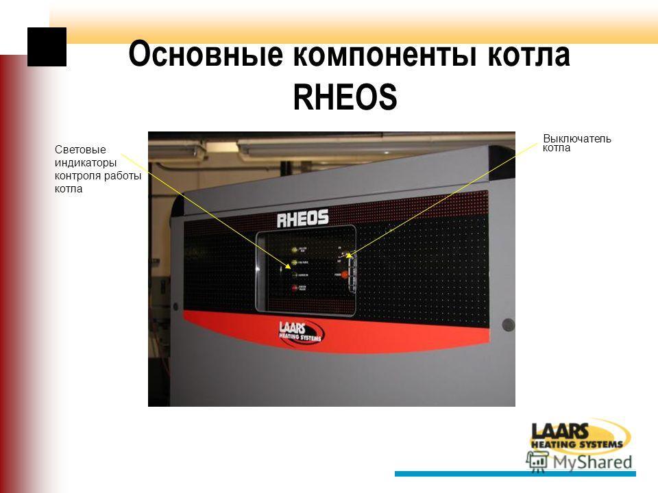 Основные компоненты котла RHEOS Выключатель котла Световые индикаторы контроля работы котла