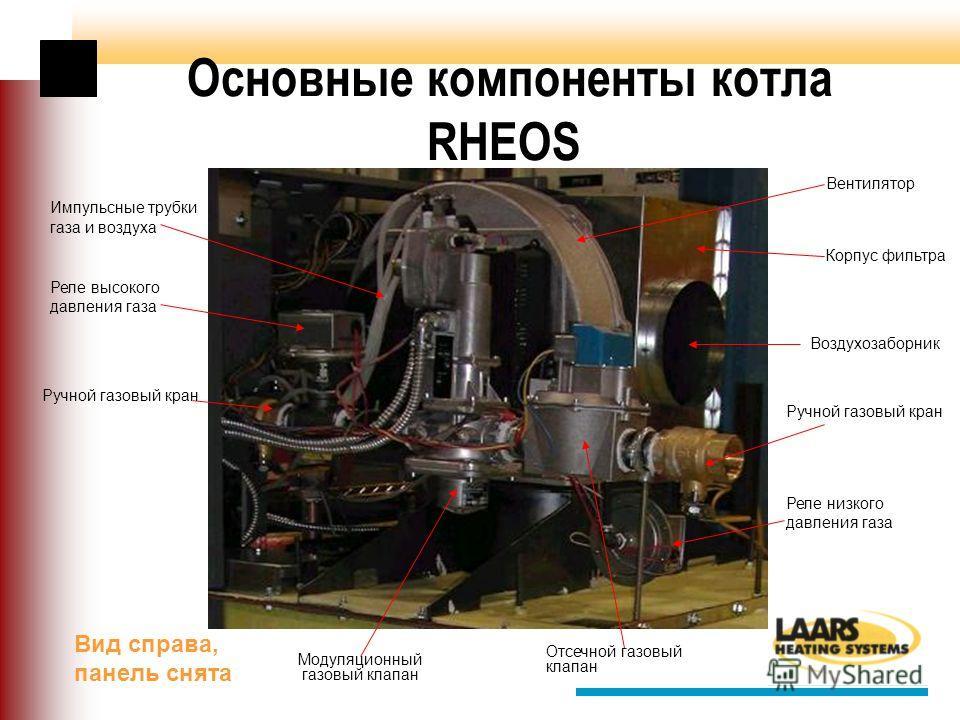 Основные компоненты котла RHEOS Ручной газовый кран Отсечной газовый клапан Реле высокого давления газа Реле низкого давления газа Модуляционный газовый клапан Корпус фильтра Вентилятор Импульсные трубки газа и воздуха Воздухозаборник Вид справа, пан