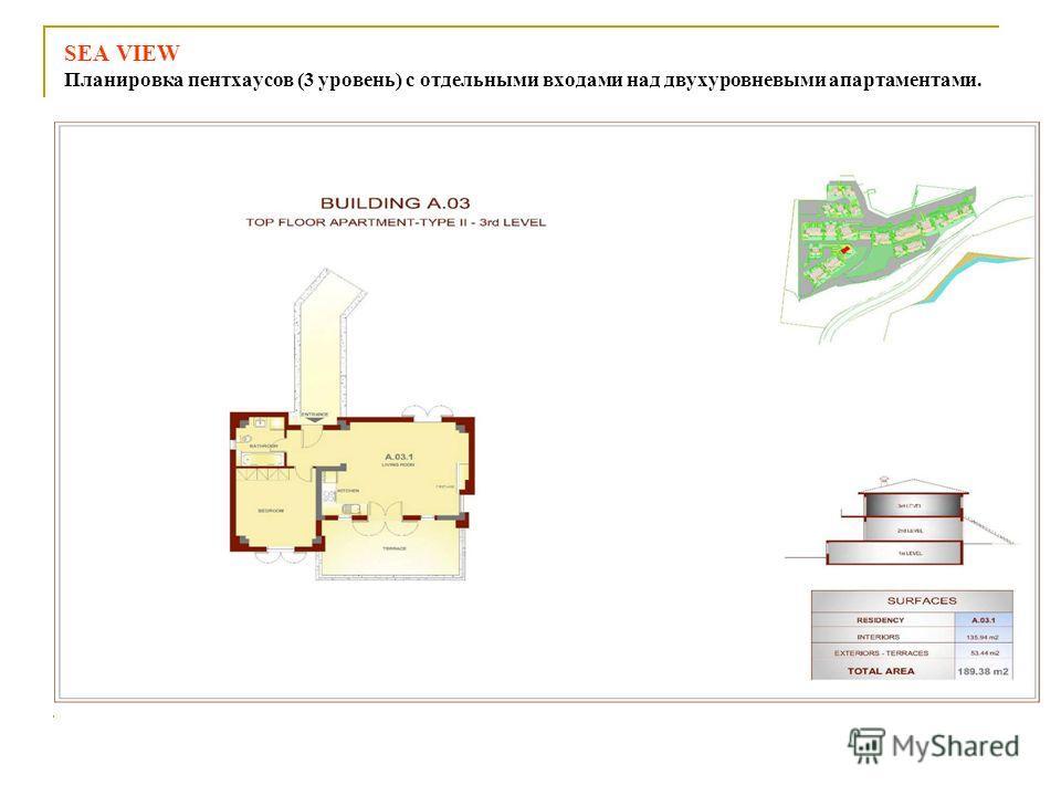 SEA VIEW Планировка пентхаусов (3 уровень) с отдельными входами над двухуровневыми апартаментами.